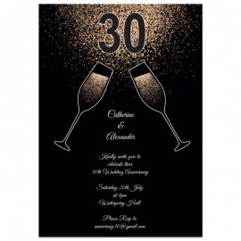 Champagne Toast Wedding Anniversary Invitations
