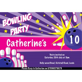Bowling Vibes Birthday Party Invitation