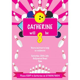 Bowling Party Girl Birthday Party Invitation