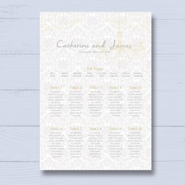Bride & Groom Wedding Table Plan