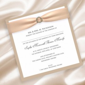 Caramel Diamante Buckle Wedding Invitation