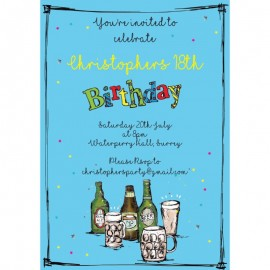 Birthdays Beers Birthday Party Invitation
