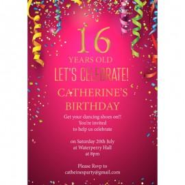 Streamers Birthday Party Invitation