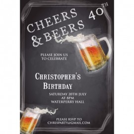 Cheers & Beers Birthday Party Invitation