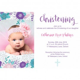 Pink Floral Christening Invitations