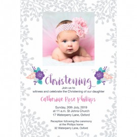Pink Pastel Flowers Christening Invitations