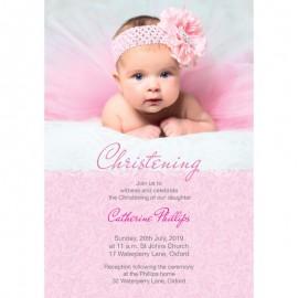 Pink Charm Christening Invitations