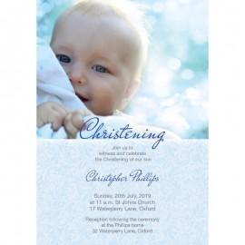Blue Charm Christening Invitations