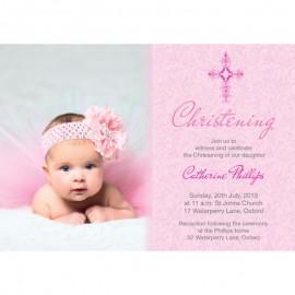 Pink Damask Christening Invitations