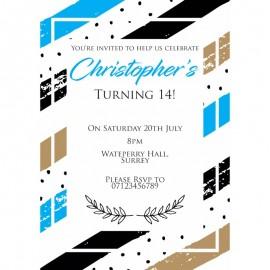 Blue Contemporary Birthday Party Invitation