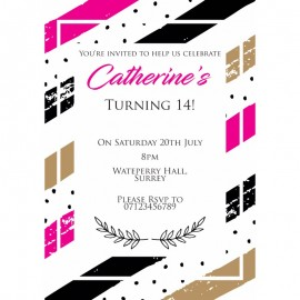 Pink Contemporary Birthday Party Invitation