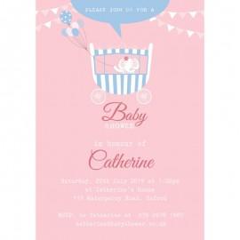 Pretty Carriage Baby Shower Invitation