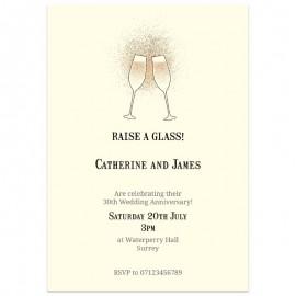 Raise a glass Wedding Anniversary Invitations