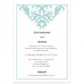 Baroque Duck Egg Wedding Invitations