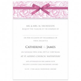 Pink Ribbon Damask Wedding Invitations