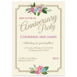 Pretty Posy Wedding Anniversary Invitations