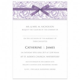 Purple Ribbon Damask Wedding Invitations