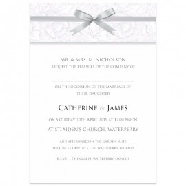 Silver Ribbon Damask Wedding Invitations