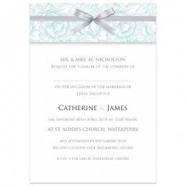 Teal Ribbon Damask Wedding Invitations