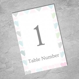 Classic Hearts Table Numbers - Pack of 10
