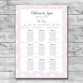 Pink Divine Wedding Table Plan