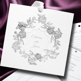 Foiled Wreath Wedding Invitation