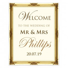 Gold Frame Shaped Welcome Sign