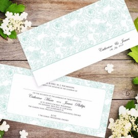 Green Summer Rose Wedding Invitation