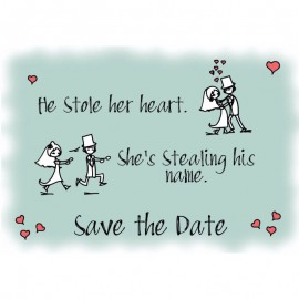 He Stole Her Heart Save the Date Card