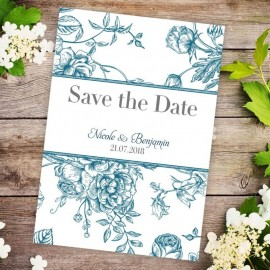 Jade Floral Romance Save the Date Card