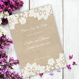 Wedding Lace Save the Date Card