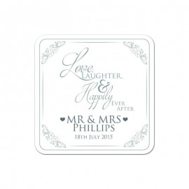 Love & Laughter Silver Wedding Coaster - Pack of 24