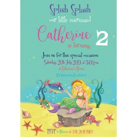 Mermaid Tales Birthday Party Invitation