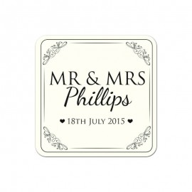 Mr & Mrs Black Wedding Coaster - Pack of 24