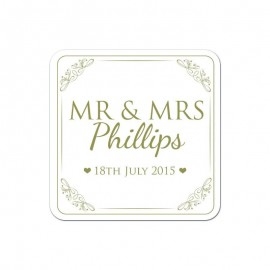 Mr & Mrs Gold Wedding Coaster - Pack of 24