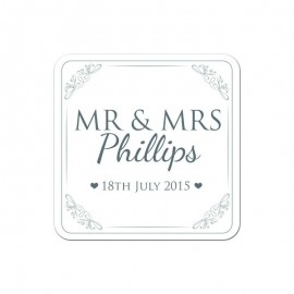 Mr & Mrs Silver Wedding Coaster - Pack of 24