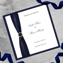 Navy Diamante Buckle Order of Service