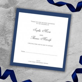 Navy Diamante Buckle RSVP Card