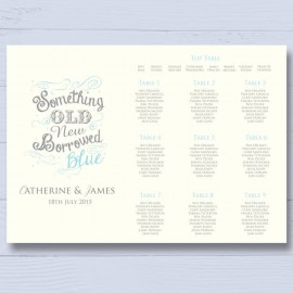 Old New Borrowed Blue Wedding Table Plan