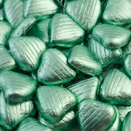 Pale Green Milk Chocolate Foiled Mini Hearts - 500g Pack 100 pcs