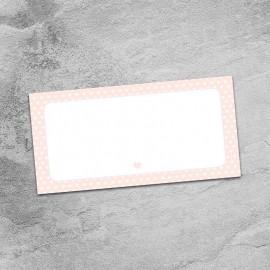 Peach Polka Dot Hearts Wedding Place Card