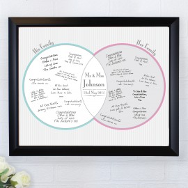 Personalised Decorative Wedding Mr & Mrs Guest Book Frame Black