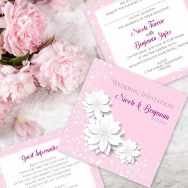 Pink Summer Blossom Wedding Invitation