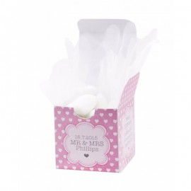 Pink Polka Dot Hearts Favour Box - Pack of 12