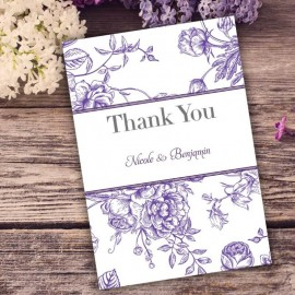 Purple Floral Romance Thank You Card