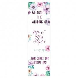 Purple flowers Pop-Up Wedding Sign