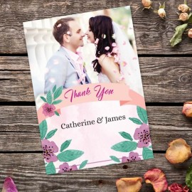 Purple Flowers Thank You Cards