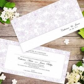 Purple Summer Rose Wedding Invitation