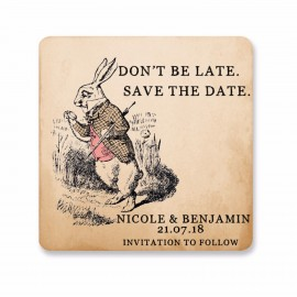 Rabbit Save the Date Coaster