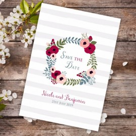 Red Floral Wreath Save the Date Card